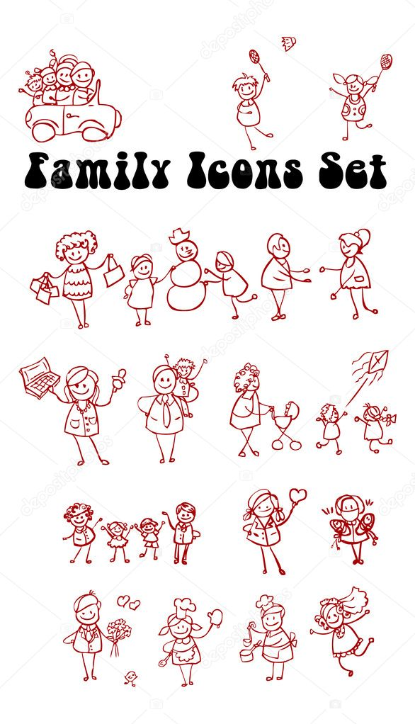 Family icons set, love, sport, work, flu, cook, play, wedding, kids, shopping — Stock Photo #1896953