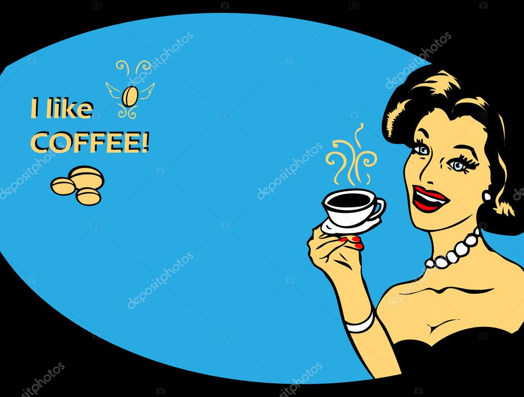 Coffee Lover vector poster with woman and cup of coffee in hand, Coffee time heart icon.Blue fashion pinup illustrations  Stock Photo #1897163