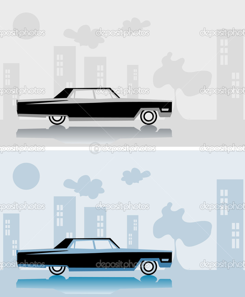 Retro car Cadillac fake paper card, city poster, vintage design — Stock Photo #1897232