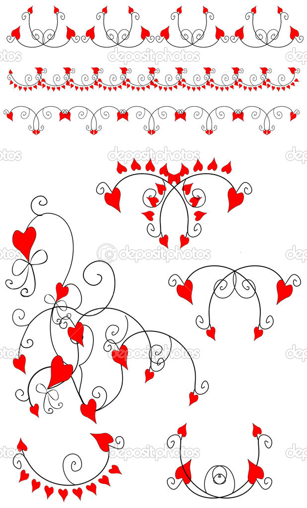 Love heart design element, border, pattern, vector love flowers — Stock Photo #1987664