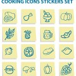 mat ikoner klistermärken set — Stockfoto