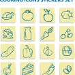 Royalty-Free Stock Photo: Food icons stickers set