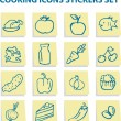Food icons stickers set — Stock Photo #1996230