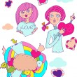 Love girl, cartoon icons emblem — Stock Photo #1996240