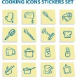 Cooking icons stickers set, — Stock Photo