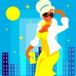 Vector fashion woman in yellow — Stock Photo
