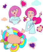 Love girl, cartoon icons emblem — Stock Photo