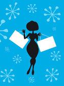 Silhouette Cartoon Woman with — Stock Photo