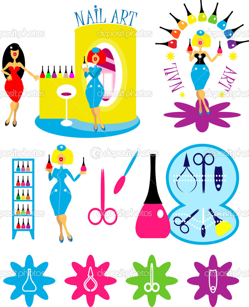 Beautiful cartoon woman in nail art salon icons and logo set. One of series vector lady style backgrounds, fashion illustrations — Stock Photo #1997144