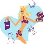 Shopping woman emblem 1 — Stock Photo