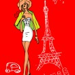 France, Paris, woman in love card — Stock Photo