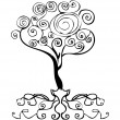 Vector tattoo tree decor element, emblem, curl d — Stock Photo