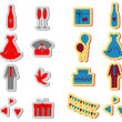 Stock Photo: Wedding icons set, wedding card emblems, color v