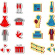 Wedding icons set, wedding card emblems, color v - Stock Photo