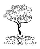 Vector tattoo tree decor element, emblem, curl d — Stock Photo