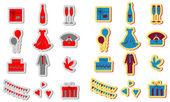 Wedding icons set, wedding card emblems, color v — Stock Photo