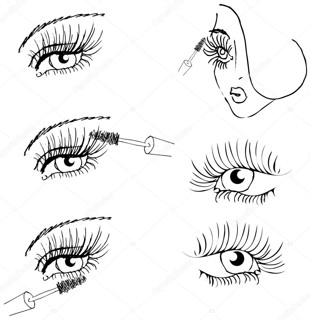 Eye lash face woman cosmetic make-up icons set  Stock Photo #2253326