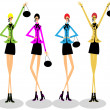 Girls group fashion illustration — Stok fotoğraf