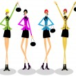 Girls group fashion illustration — Stock Photo