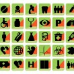 Medical button, shiny icons — Stock Photo