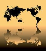 Odrážejí mapa světa s lesklou poza země — Stock fotografie