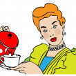 Retro Housewife  with cup - Stock Photo