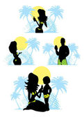 Family summer beach silhouette emblem — Stock Photo