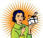 Retro woman gift icon advertise — Stock Photo