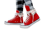 Red sneakers, checkered leggings. — Stock Photo