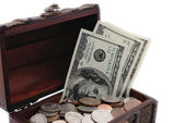 Chest with US money in it. — Stock Photo