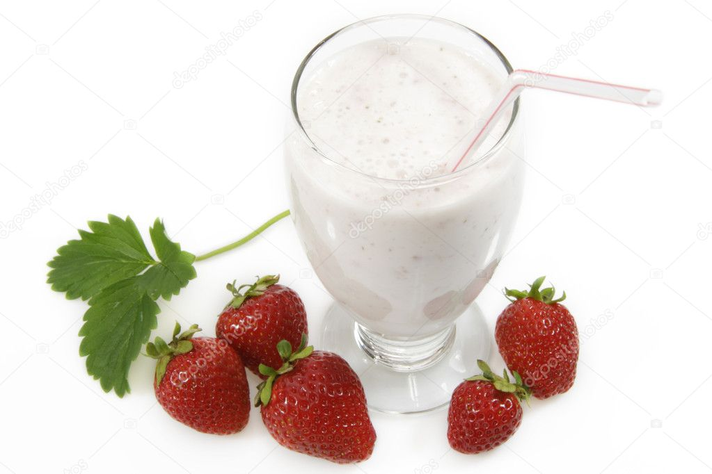 Milkshake with fresh strawberries over white background  Stock Photo #1647267