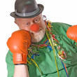 Clown with boxing gloves - Stock Photo