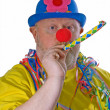 Clown with yellow pipe — Stock Photo