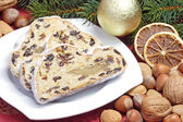 Stollen with garnish — Stock Photo