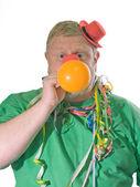 Clown with balloon — Stock Photo