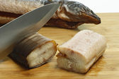 Preparation of smoked eel — Stock Photo
