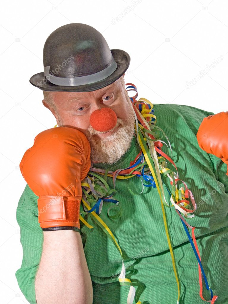 Clown with hat, false nose and boxing gloves  Stock Photo #1702326