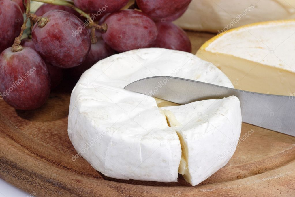 French brie with grapes and bread  Stock Photo #1702570