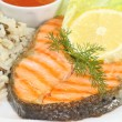 Grilled salmon trout steak - Stock Photo