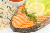 Grilled salmon trout steak — Stock Photo