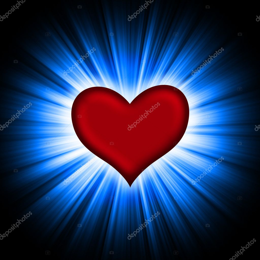 Red heart with rays on a black background, abstract — Stock Photo #1621402