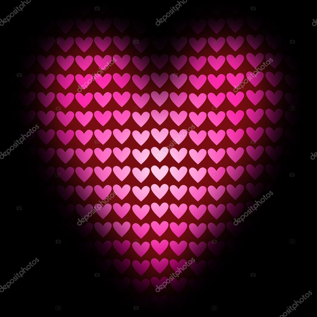 Red heart of the little hearts on a dark background — Stock Photo #1625572