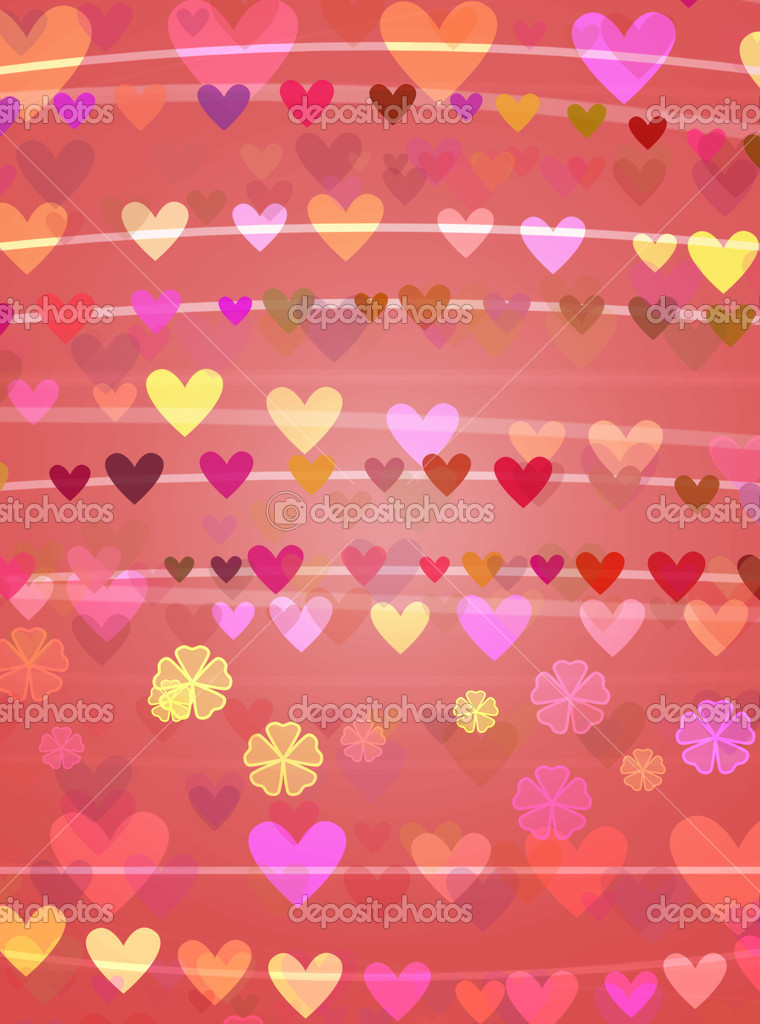 Romantic background of stripes and hearts with flowers — Stock Photo #1628017