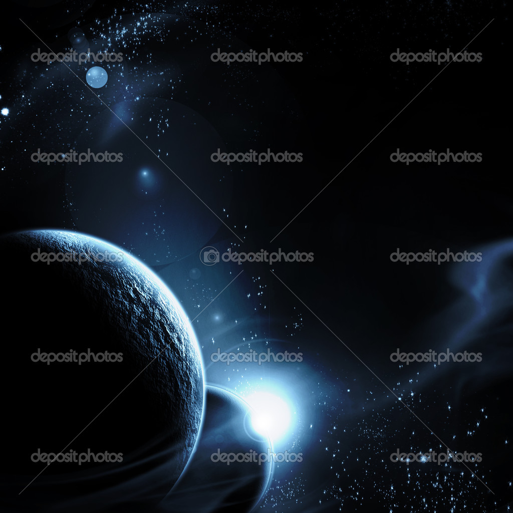 Planet with sunrise on the background of stars   Stock Photo #1630100