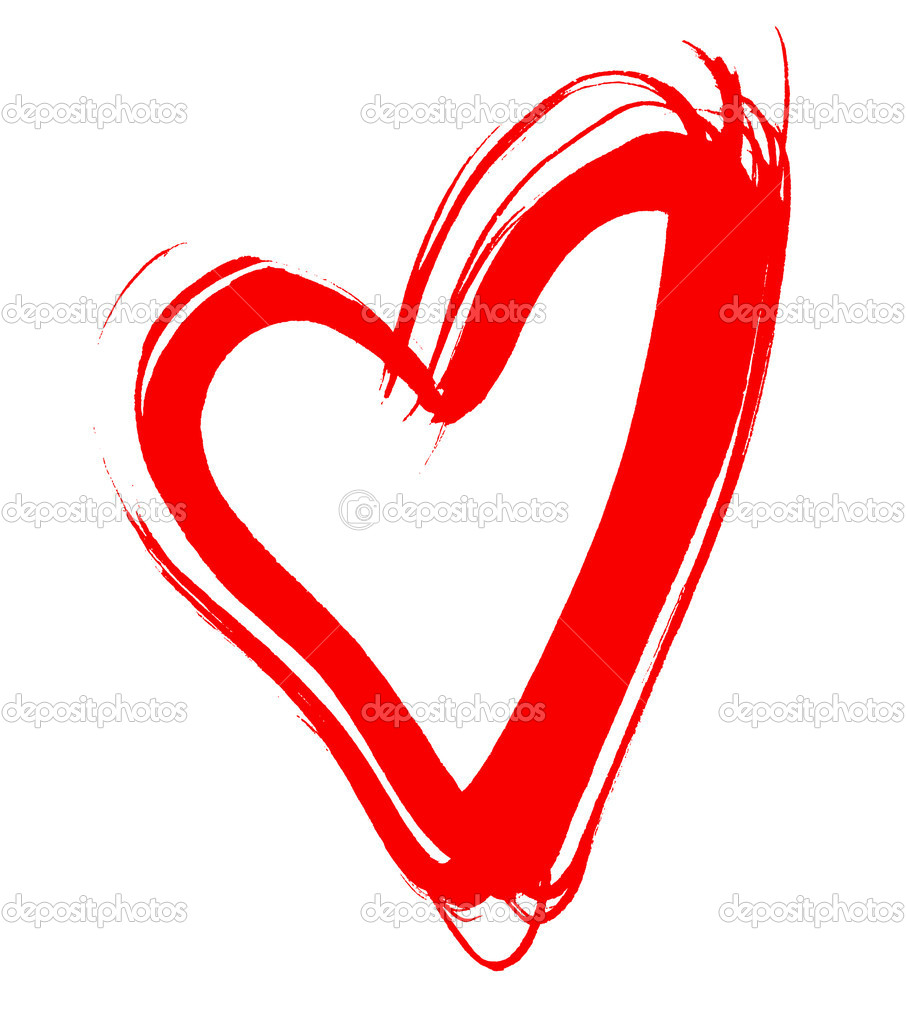 Red heart, drawn by hand, isolated on white — Stock Photo #1638857