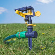 Lawn sprinkler water — Stockfoto