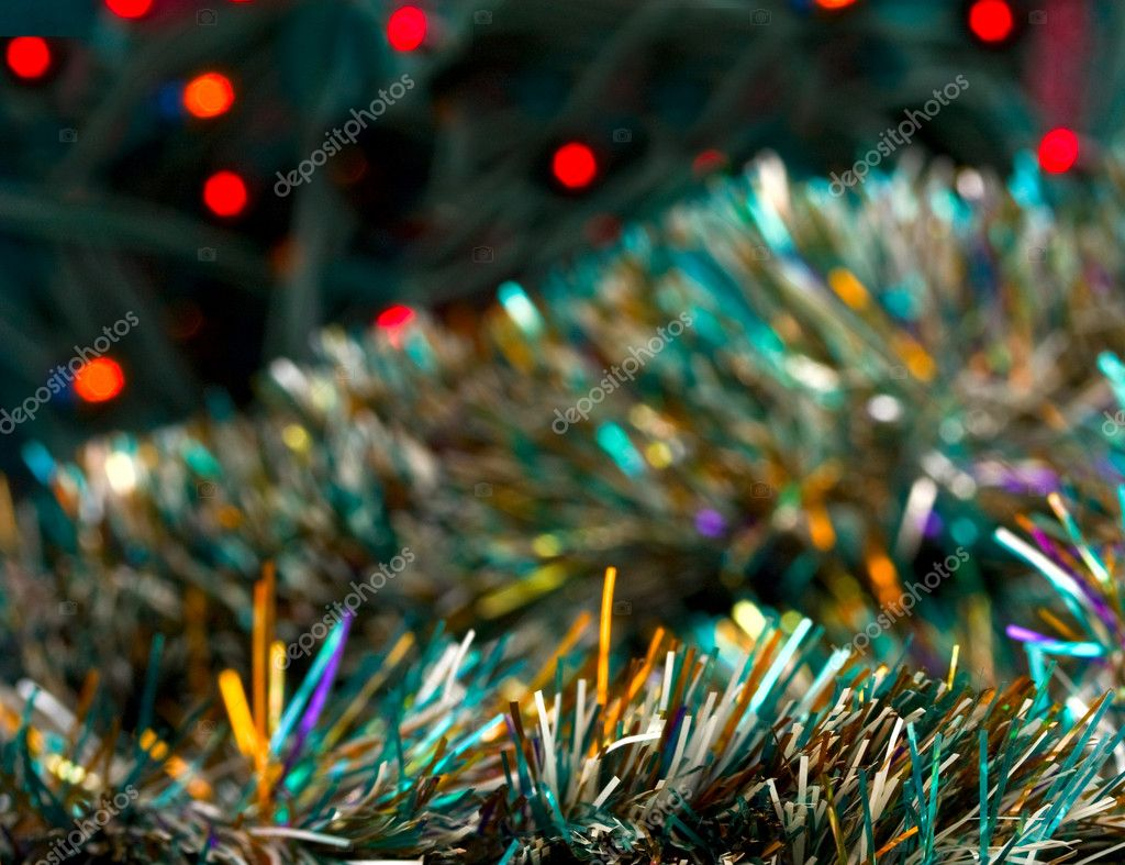 Background of Christmas tinsel and lights close up — Stock Photo #1704178