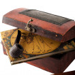 Stock Photo: Antique treasury box with travel diery