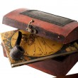 Antique treasury box with travel diery — Stock Photo #1668201