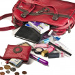 Necessary things in red woman handbag — Stock Photo #1669114